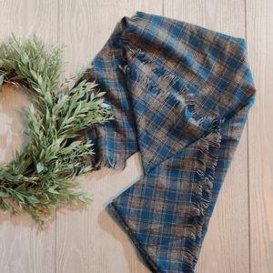 Vintage grey blue plaid wool shawl scarf